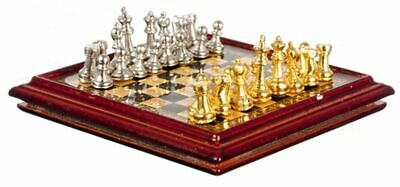 Dollhouse Miniature Metal Chess Set And Board
