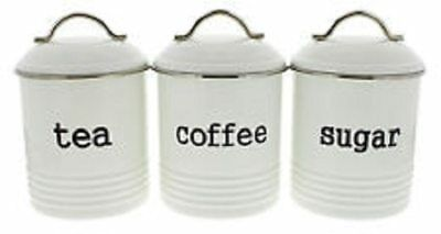 D.Line Colonial Set Of 3 Tea/Coffee/Sugar 1 Litre Canisters – White
