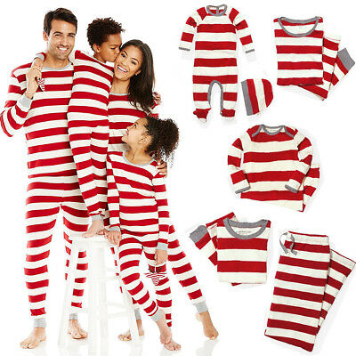 Christmas Gift Family Matching Striped Sleepwear Outfits Cotton Pajamas Set Lot
