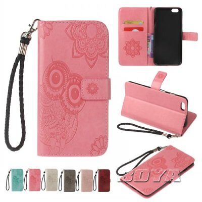 For iPhone 5 6 7 X Plus luxury pu wallet phone case flip folios card holder OWL