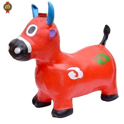 Red Cow Hopper - Inflatable Space Hopper, Jumping Cow, Ride-on Bouncy Animal NEW