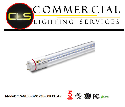 LED Tubes Direct Wire Light 18W AC100-277V 5000K CLEAR (25 Tubes) 4 Foot Tubes