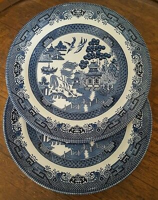 2 Churchill Blue Willow Dinner Plates 26cm