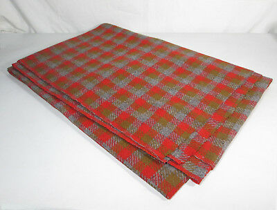 "Wool Check Plaid Tartan Fabric Red, Gray and Brown 56"" by 82"" ( 2 Yards)"