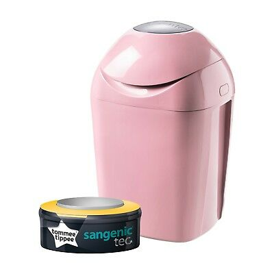 Pink Sangenic Nappy Disposal Bin By Tommee Tippee For Odour Protection Brand New