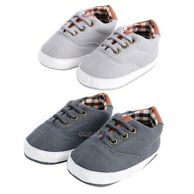 Newborn Toddler Baby Boy Girl Canvas Soft Sole Crib Shoes Prewalker Shoes 0-18M