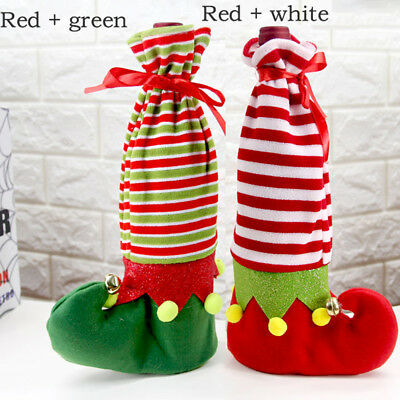Wine Bottle Cover Stripe Sock Bag Cute Stocking Christmas Dinner Table Decor