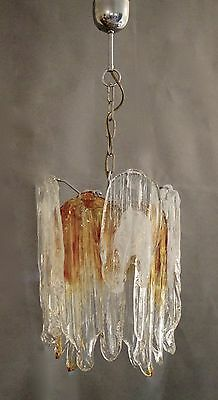 SPECTACULAR UNUSUAL ICE GLASS 60s CHANDELIER = ART GLASS-MAZZEGA /MURANO
