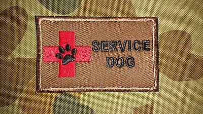 New Service Dog Paw Khaki First Aid Tactical Morale Airsoft Hook Patch Australia