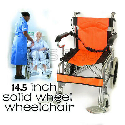 16inch Solid wheel steel wheelchair with four hand brakes orange