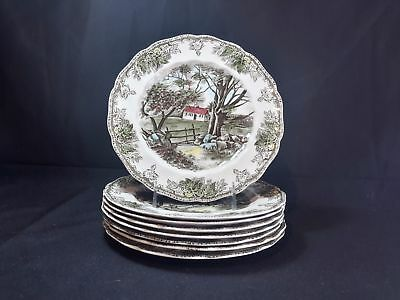 Johnson Brothers Friendly Village The Stone Wall Set of 8 Luncheon Plates