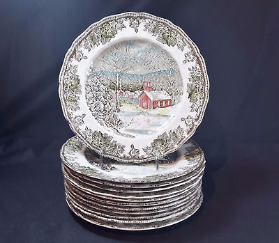 Johnson Brothers Friendly Village Set of 12 Dinner Plates The School House