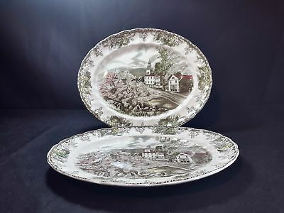 Johnson Brothers Friendly Village  2 Oval Serving Platters The Village Green