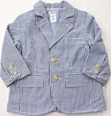 Carter's Suit Jacket 3 3T 2 2T Seersucker Wedding Blue Boy's Lined FREE NWT $40