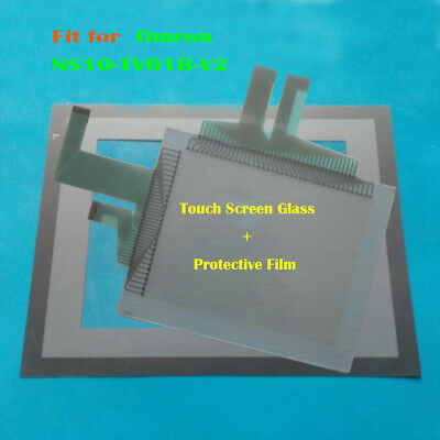 For Omron NS10-TV01B-V2, NS10TV01BV2 Touch Panel Glass + Protective Film New