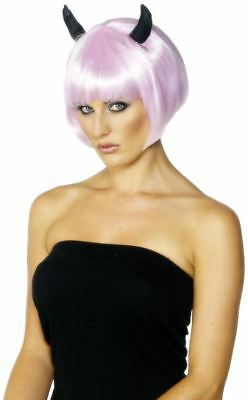 Ladies Bob Short Pink Devil wig with fringe fancy dress Womens Hen night party