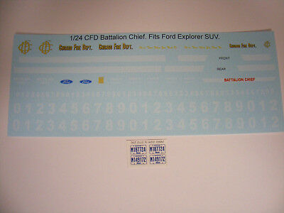 Chicago Fire Battalion Chief 1/24 Waterslide Decal Set Fits Ford Explorer SUV NU