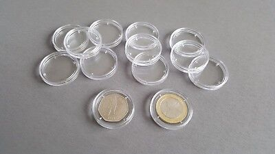 50p or Two Pound 10x Capsules 28mm £2 Fifty Pence Tray Storage Coin Collector