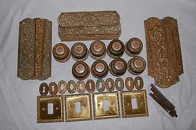 Vintage Brass Decorative Door Knobs Finger plates Key holes -Great Door Set