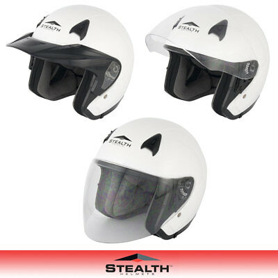 Stealth Nt200 White Open Face Motorcycle Scooter Cruiser City Helmet With Visor