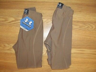 UNDER ARMOUR kids/ youth S Small Base Layer PANTS coldgear ARMY BROWN 2 pairs