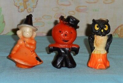 vintage Halloween GURLEY CANDLE LOT OF 3 owl, orange witch, scarecrow