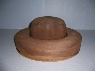Antique Millinery Wood Hat Block Mold Brim Form 5 3/4, 6 7/8, 52