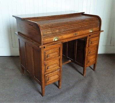 Antique vintage early 20th century tambour roll top writing desk
