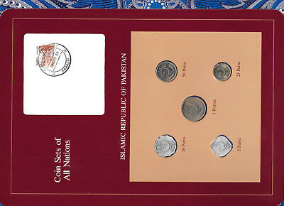 Coin Sets of All Nations Pakistan w/card UNC 1 Rupee,50,10,5 Paisa 1987 25 1984