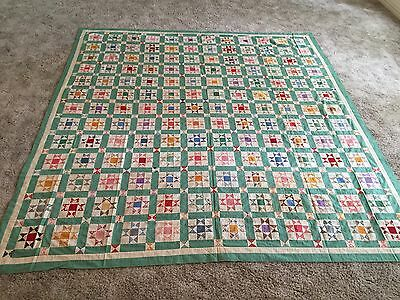 "Antique Quilt Unfinished Top from 1930's - ""Ohio Star"" pattern"