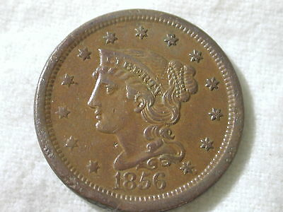 1856 Slanting 5 U.S Large Cent Coronet Modified Portrait Braided Hair About U...