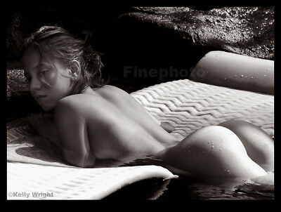 Original TIA #3 Female NUDE LAGOON Butt 13x19 Art Photograph Signed KELLY WRIGHT