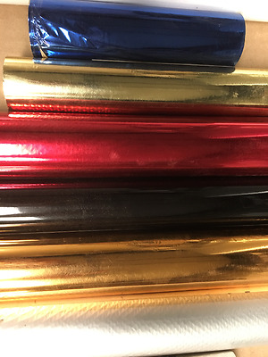 "4 rolls of Hot Stamping Foil Kingsley Howard 3""x100 ft. 1/2 in. core. COLORS"