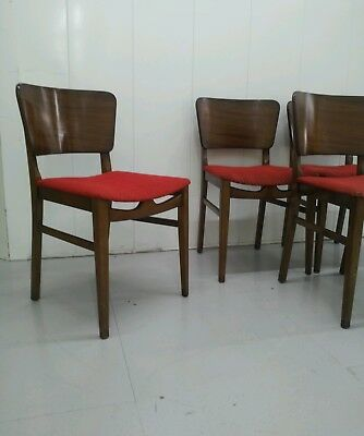 4x 1950s vintage diner style dining chairs atomic mid century red