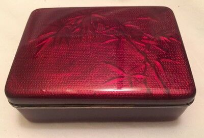 Pigeon Blood Japanese Cloisonne Basse-Taille Box w/ Lid Humidor Exquisite Piece