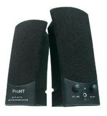 ProHT 88037 PC Stereo Speakers 1Watt USB Powered Black