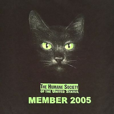 official HUMANE SOCIETY UNITED STATES MEMBER t shirt--COOL CAT FACE--NEW--(L)