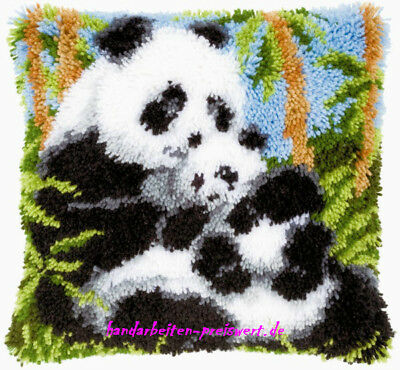 Vervaco Latch Hook Cushion 40x40cm PANDA-Bear Family Pack for Knot -853
