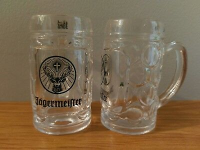 Collectable Jagermeister Shot Glasses Set of 2 Miniature Beer Stein Style
