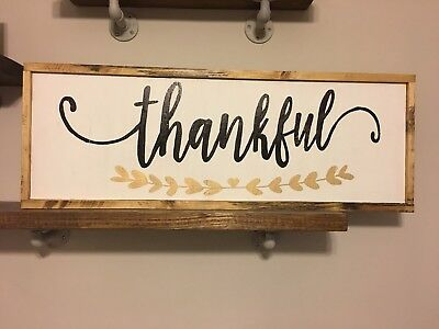 Thankful Rustic wood sign, farmhouse style, framed decor, Fall, thanksgiving