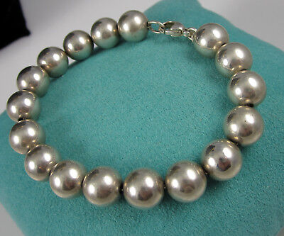 Tiffany & Co Gorgeous Bright Sterling Silver 10 MM Bead Chain Bracelet