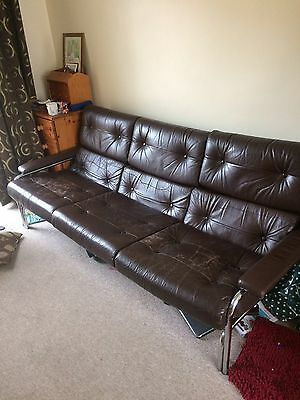 Pieff Alpha Three Vintage Leather Sofa