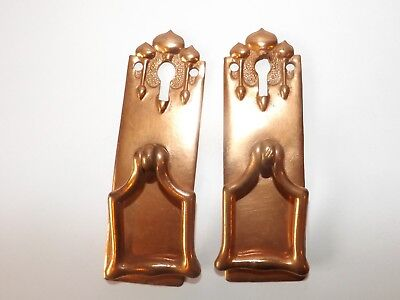 Pair Genuine Antique Art Nouveau Copper Cabinet Door Handles Reg No. c1904