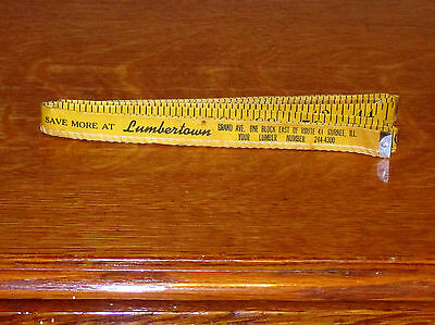 Vintage LUMBERTOWN Paper Tape Measure ROUTE 41  GURNEE ILLINOIS  60 inches