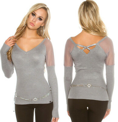 Woman Sweater Grey Top Sexy V-Neck Back Open Fishnet And Rhinestones T.u 34/36