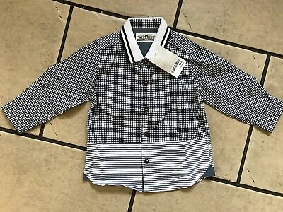 Baby Boys Next Black/white Checked Long Sleeve Shirt - Bnwt - Age 9-12 Months