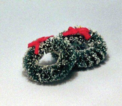2 Christmas Wreaths With Red Ribbons, Dolls House Miniatures, Xmas