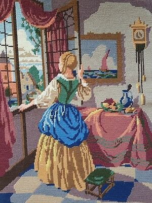 Vintage Handmade TAPESTRY, Needlepoint Embroidery