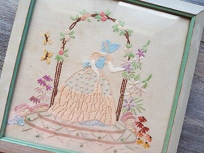 Beautiful Vintage Hand Embroidered Crinoline Lady Panel/Picture