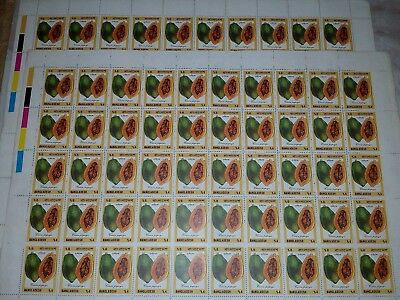 Bangladesh full sheet on fruits complete 6 value set mint 1990